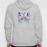 Pink and Blue Watercolor Butterfly Hoody