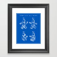 Lego Man Patent - Blueprint (v3) Framed Art Print