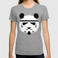 Panda Trooper Womens Fitted Tee Tri-Grey MEDIUM