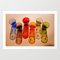 Six colored glasses and they colorful shadows Art Print