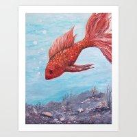 Orange Gold Fish Perhaps Art Print