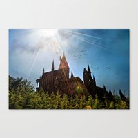 Flare over Hogwarts Canvas Print
