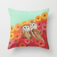 Owls in a Poppy Field Throw Pillow