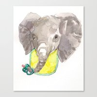 Canvas Print featuring Elephant baby by Becca Kallem