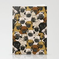 birthday Stationery Cards featuring Social Pugz by Huebucket
