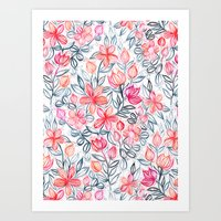 Coral and Grey Candy Striped Crayon Floral Art Print