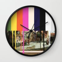 Garage Sale Painting of Peasants with Color Bars Wall Clock