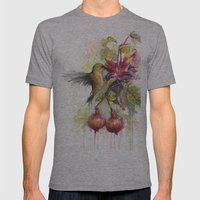 Hummingbird and Fuchsia Watercolor Mens Fitted Tee Athletic Grey SMALL