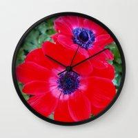 Velvet Red Poppy Anemone… Wall Clock