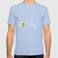 Bee Happy Mens Fitted Tee Tri-Blue SMALL