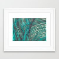 Turquoise Feather Close Up Framed Art Print
