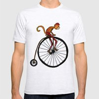 Penny Farthing Pete Mens Fitted Tee Ash Grey SMALL