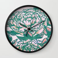 Peonies - Flowers - Pink… Wall Clock