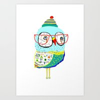Bobble Hat Owl. Art Print