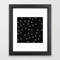 Pin Point Polka Dots White on Black Framed Art Print