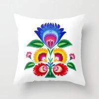folk flower Throw Pillow