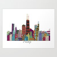 chicago Art Prints featuring Chicago  by bri.buckley
