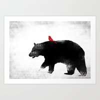 Bear and Bird Art Art Print