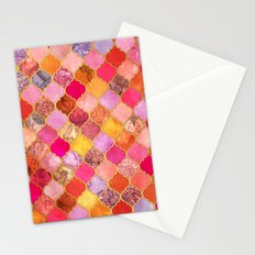 Hot Pink, Gold, Tangerine & Taupe Decorative Moroccan Tile Pattern Stationery Cards