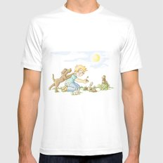 Beginning, Nature, Boy Planting A Seedling, Youth Illustration White SMALL Mens Fitted Tee
