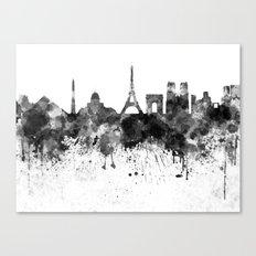 Paris skyline in black watercolor Canvas Print