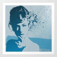 Face 01 (Blue) Art Print