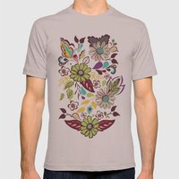 Large Bright Blooms Mens Fitted Tee Cinder SMALL
