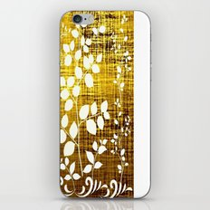 White leaves decor on golden background iPhone & iPod Skin