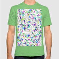 Modern Watercolor Geomet… Mens Fitted Tee Grass SMALL