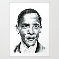 obama Art Prints featuring Obama by Bridget Davidson
