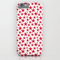 Red stars on white background illustration iPhone 6 Slim Case