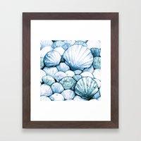 Sea Shells Teal Framed Art Print