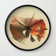 Wall Clock featuring Snow Fox by Andreas Lie