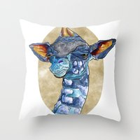 Zen Giraffe - Watercolour Throw Pillow