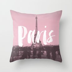 Pink Paris Eiffel Tower Throw Pillow