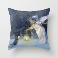 Throw Pillow featuring Angel Night by Illu-Pic-A.T.Art