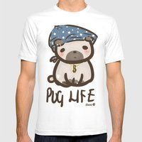 'Pug Life' Mens Fitted Tee White SMALL