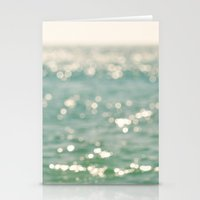 beach. bokeh sparkle, ocean. La Mer Stationery Cards
