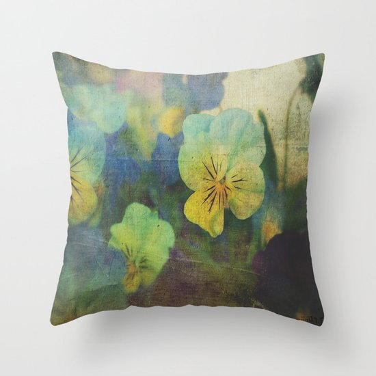 Textured Blue Pansy Throw Pillow by Pic-N-Mix Society6
