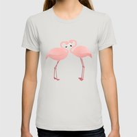 Flamingo Love Womens Fitted Tee Silver SMALL