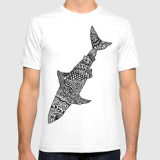 Doodle Shark White Mens Fitted Tee SMALL