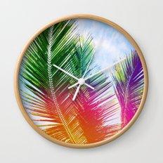 Neon Rainbow palm Wall Clock