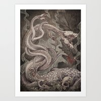 the Lernaean Hydra art print Art Print
