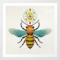bee Art Prints featuring bee by Manoou
