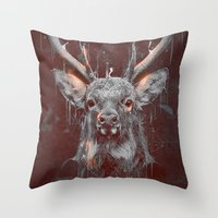 DARK DEER Throw Pillow