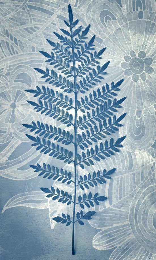 Jacaranda Leaf in Blue, Cream, Grey Art Print