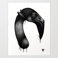 Flamingo_Face Art Print