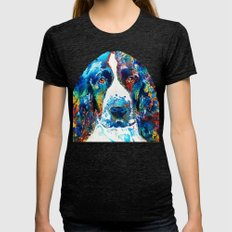 Colorful English Springer Spaniel Dog by Sharon Cummings Womens Fitted Tee Tri-Black SMALL