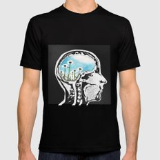 Brain Flowers Black Mens Fitted Tee SMALL