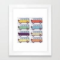 VW Van Parade Framed Art Print